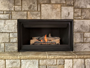 natural gas fireplace with stone surround